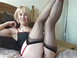 Sexy British Mature Teasing In Stockings