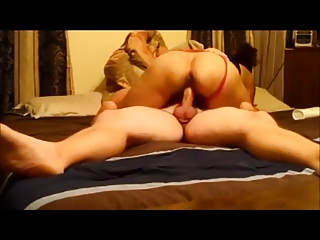 Amateur curvy wife riding on homemade