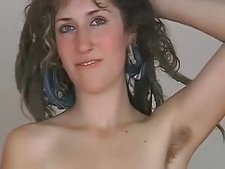 Sexy Blonde Hippie Shows Her Hairy Armpits