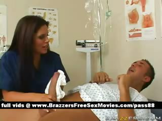 Hot brunette nurse makes a patient a bath