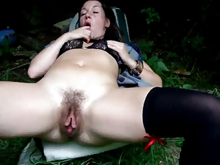 Hairy Milf In Garden