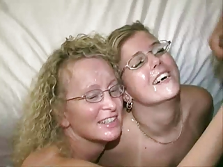 2 Fair-haired Milfs in Swinger Club