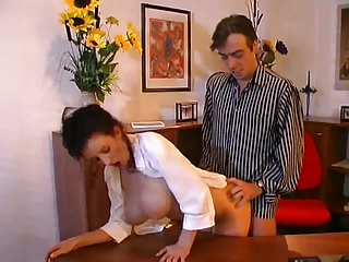 Chunky pair secretary shacking up her boss