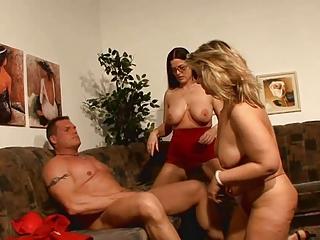 Lucky guy having joke with 2 hot german moms!