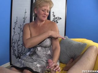 Mature Old bag Jerks A Big Cock