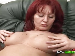 Handicapped guy sideways busty mature redhead