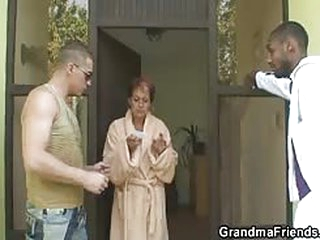Granny gets pounded by two guys who stopped by
