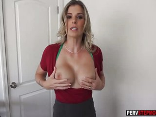 Horny busty MILF stepmom wants to taste a stepsons dick
