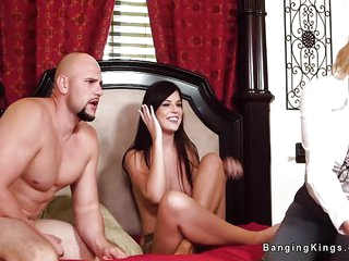 Threesome live sex show with stepmom and a hunky man with big cock and muscles