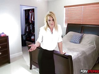 Stepson got a blowjob and money from horny MILF stepmom