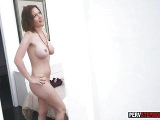 Spying stepson got a sensual blowjob from his MILF stepmom
