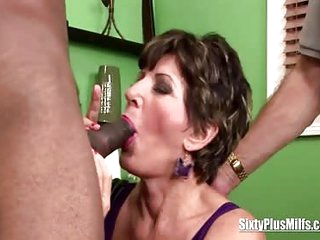 Granny fucks while husband watches her old mature body sucking a long big black cock