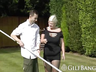 Lucky pool boy bangs horny big boobed granny