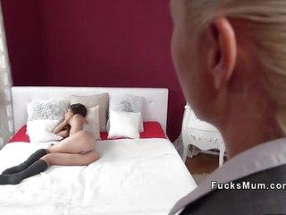 Brunette lesbian eats Milf estate agent