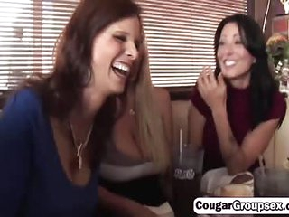 An awesome cock riding with three hot cougars
