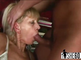 Slender granny Inci gets pussy banged by younger lover