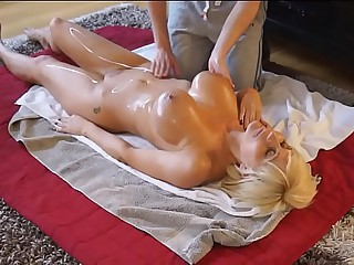 Son gives mom a massage