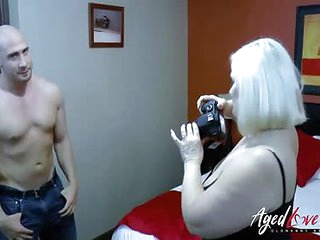 AgedLovE Busty Mature and Handy Guy Cock Sucking