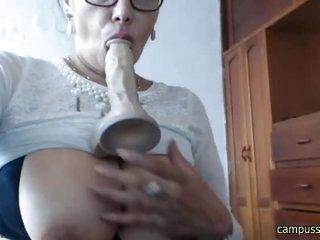 Hot mature fucking and sucking dildo on webcam