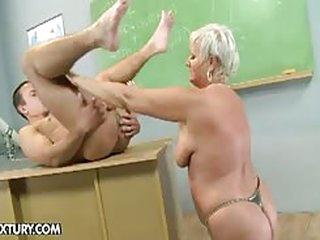 Old teacher, granny Cecily, seduces student