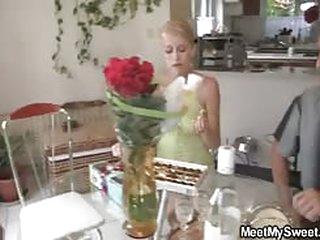 Blonde teen girlfriend for horny lesbian mom