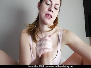 MILF from Milfsexdating Net giving her first footjob POV